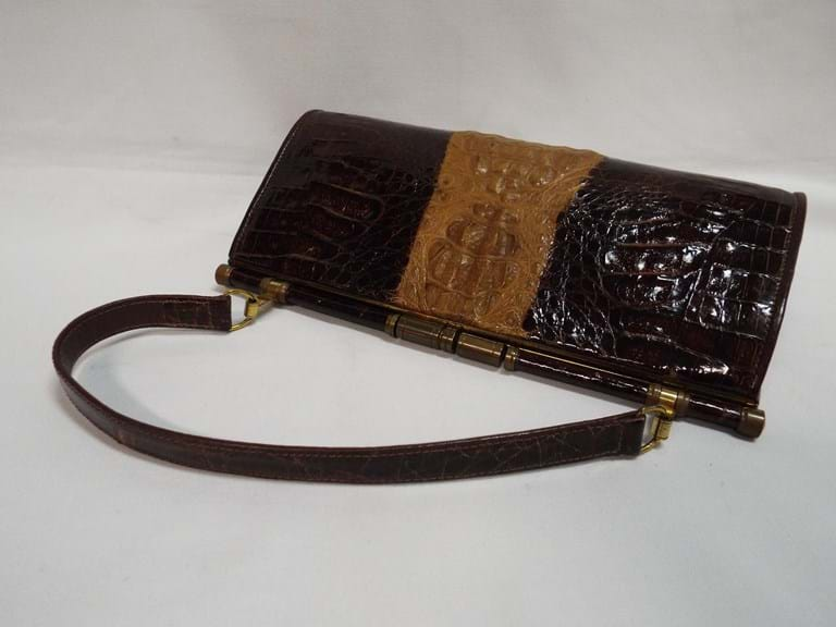 1960s crocodile skin handbag