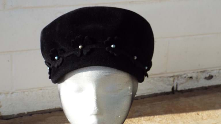 1960s black high crown hat
