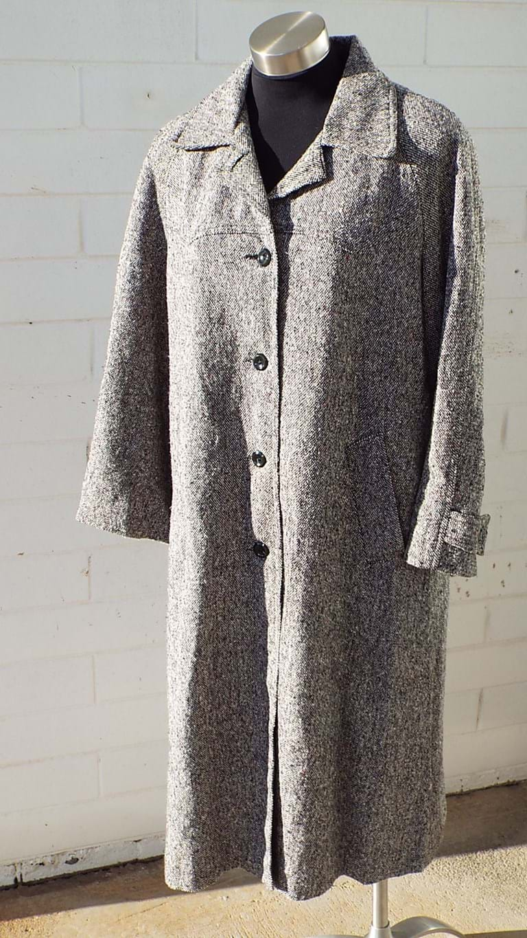 1970s black flecked wool coat