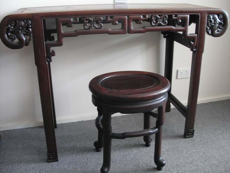 Antique Chinese rosewood altar table and stool