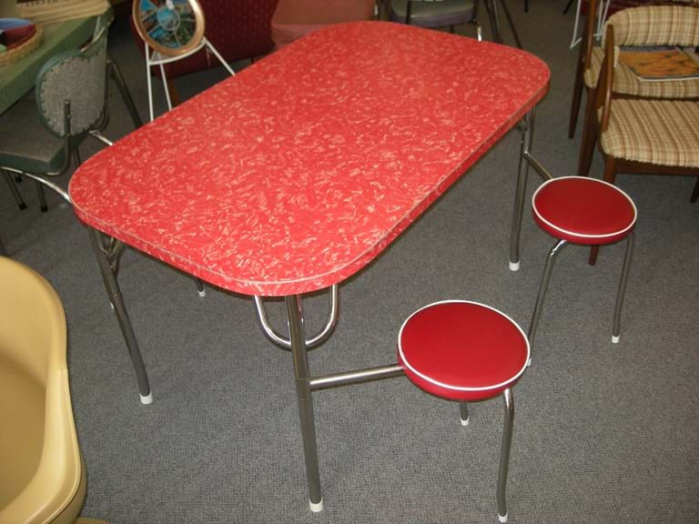 1950s kitchen suite with red pearl laminex top and unusual 'swing-away' seats