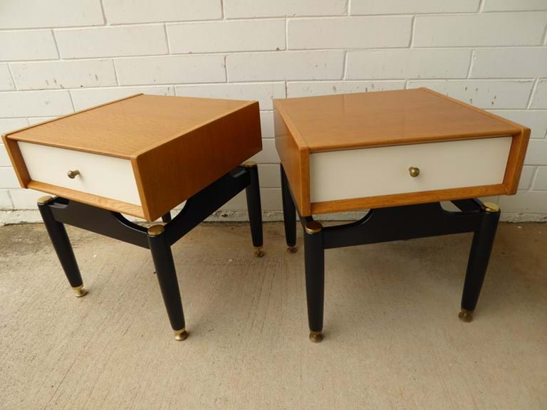 Pair late 1950s timber bedside cabinets by G Plan