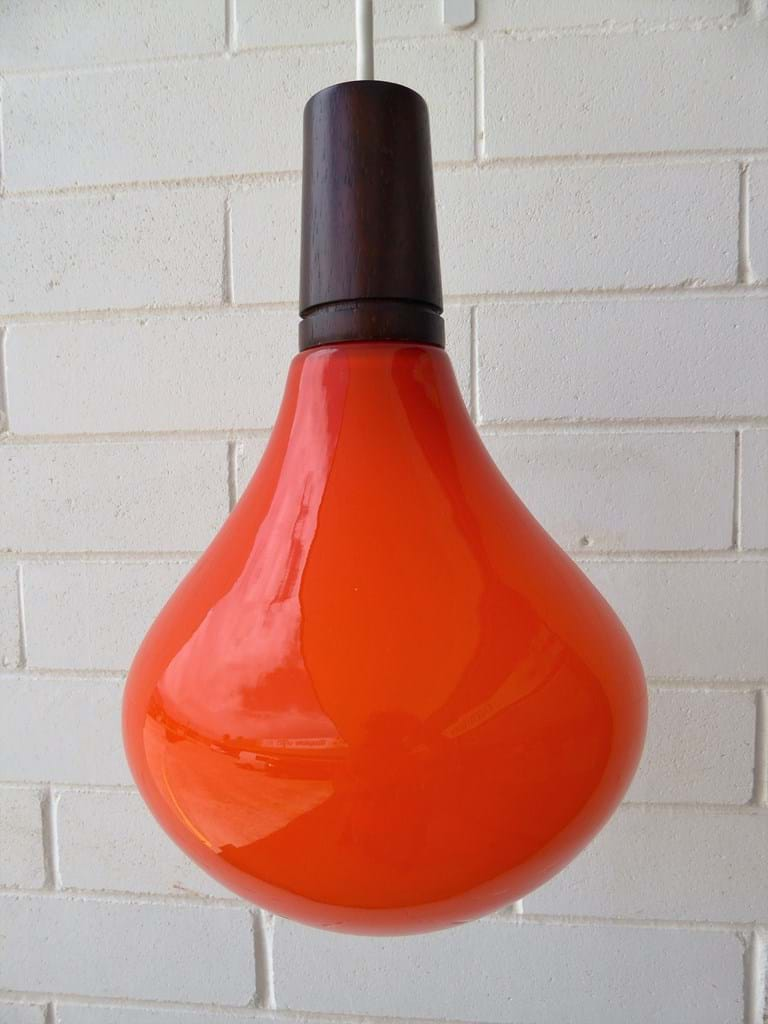 1970s burnt orange cased glass pendant light fitting by Leonora