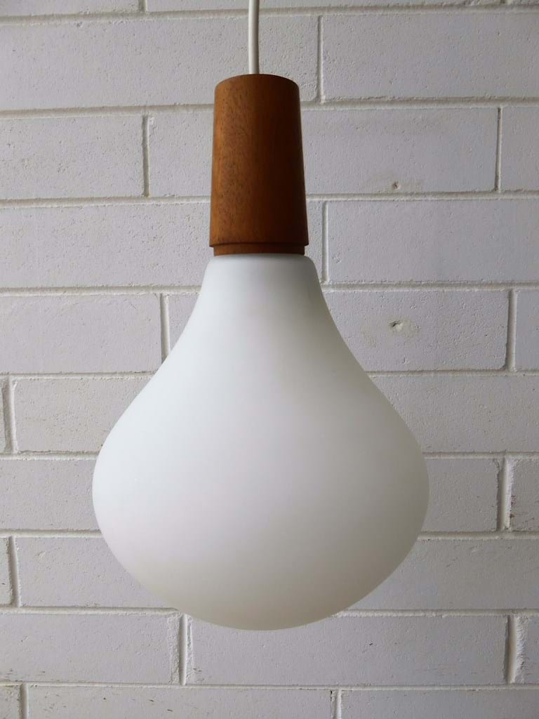 1970s satin glass pendant light fitting by Leonora