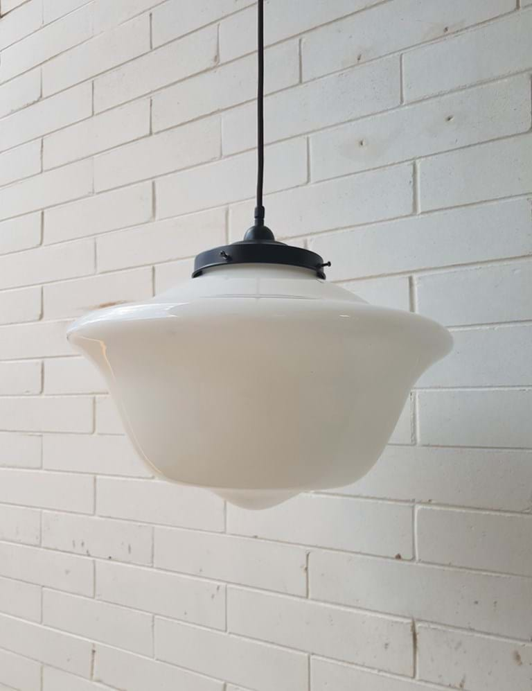 1940s-1950s pendant light fitting with very large milk glass shade
