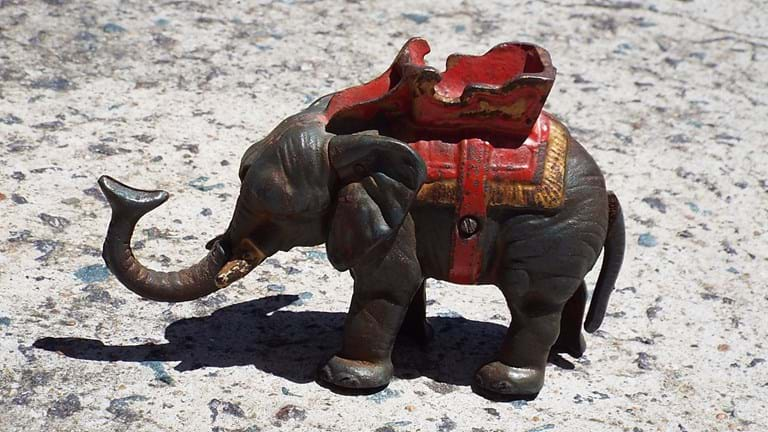 Hubley original cast iron elephant money bank