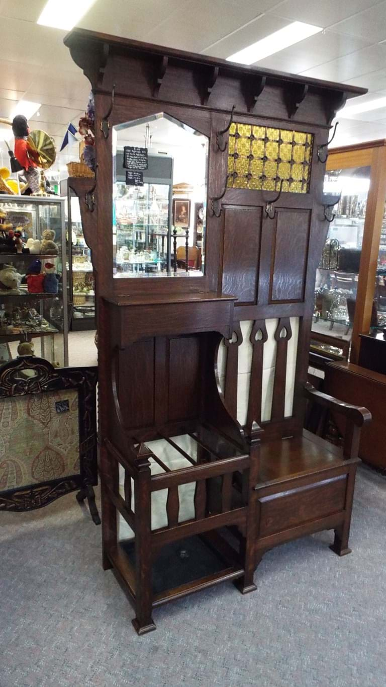 Arts and Crafts oak hallstand
