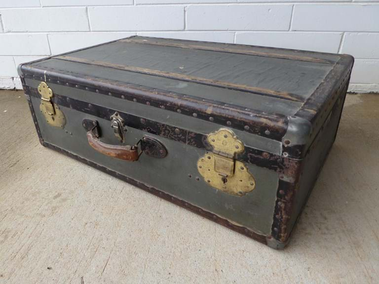 1950s plywood trunk with metal frame