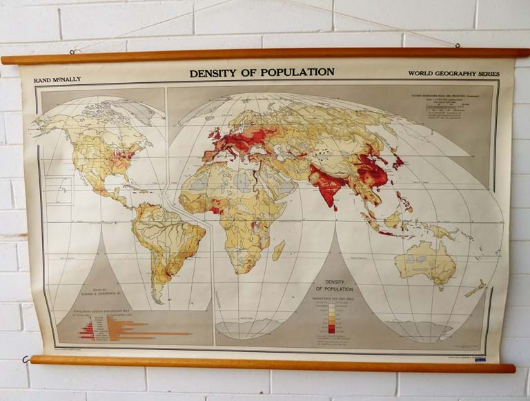 1960s educational wall map of the world