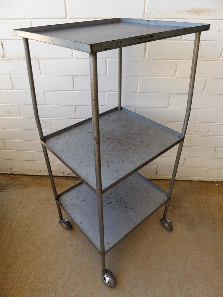 1960s metal film projector trolley