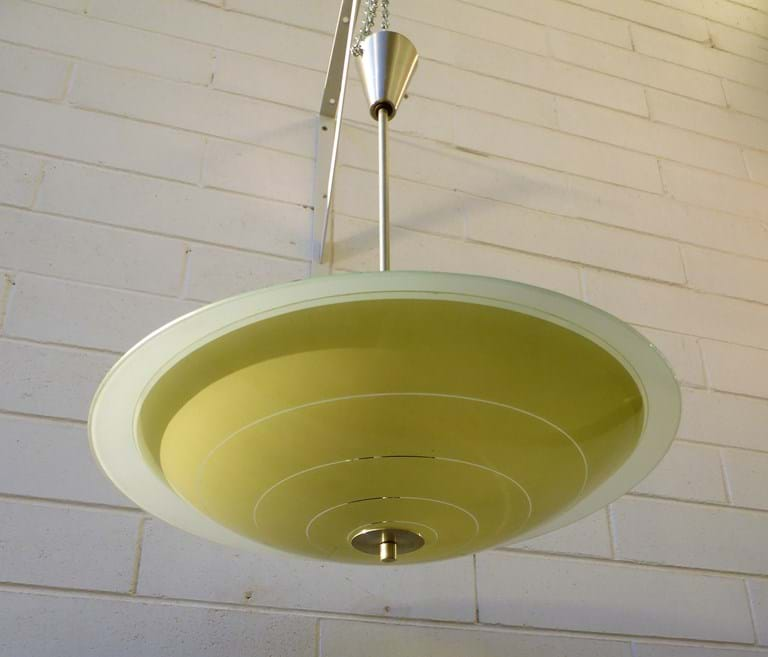 1950s – 1960s twin shade pendant light fitting