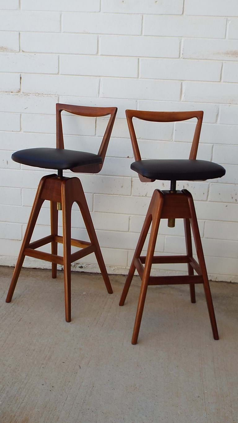 1960s pair bar stools by T H Brown