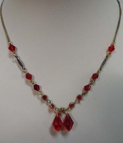 1940s red crystal necklace