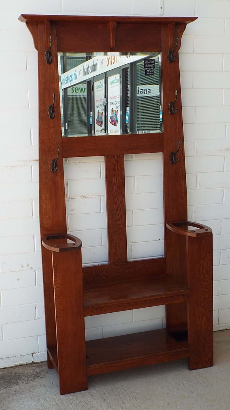 c1900 English oak hallstand