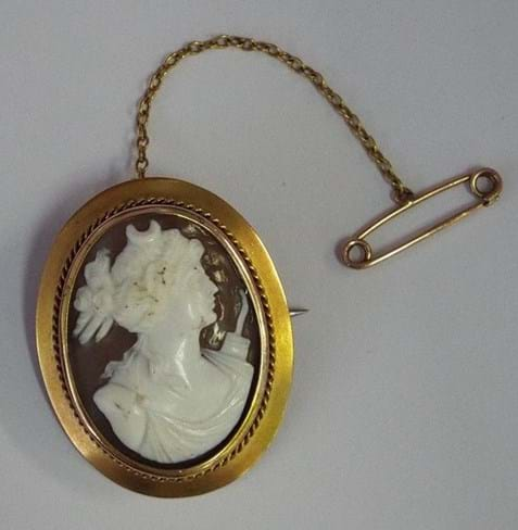9 carat yellow gold framed cameo brooch