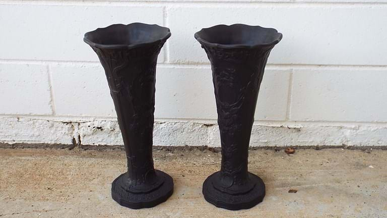 Pair Wedgwood black basalt vases