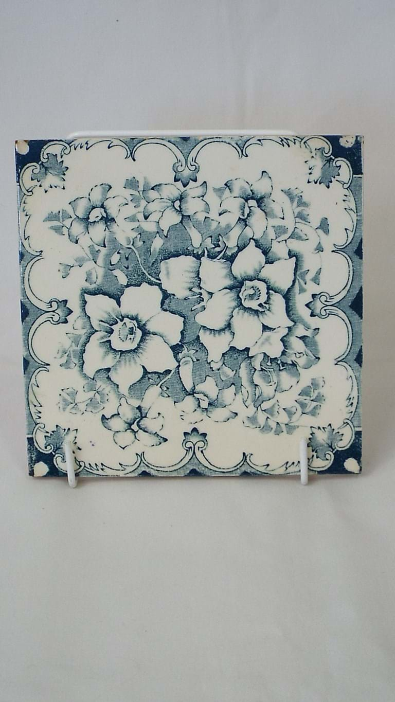 Pair Victorian blue and white tiles