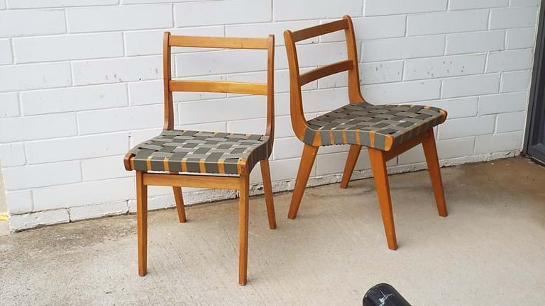 Pair 1950s timber chairs with webbed seats