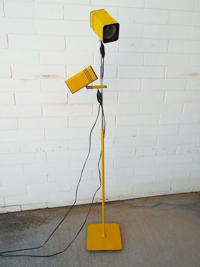1970s twin shade floor lamp by Oslo, Uncommon oblong shade version