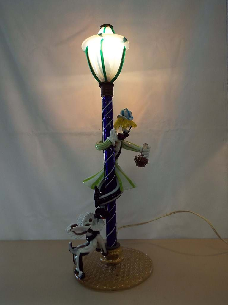 1960s Murano glass clown, dog, electric lamp
