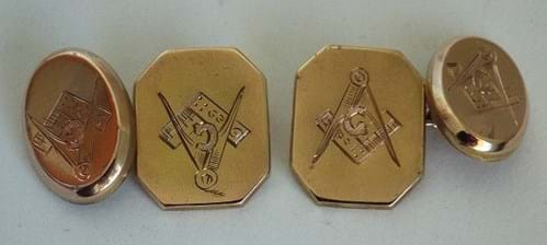 Antique pair 9 carat gold Masonic cufflinks