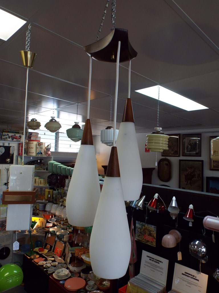 1960s three drop pendant light fitting with satin white glass shades