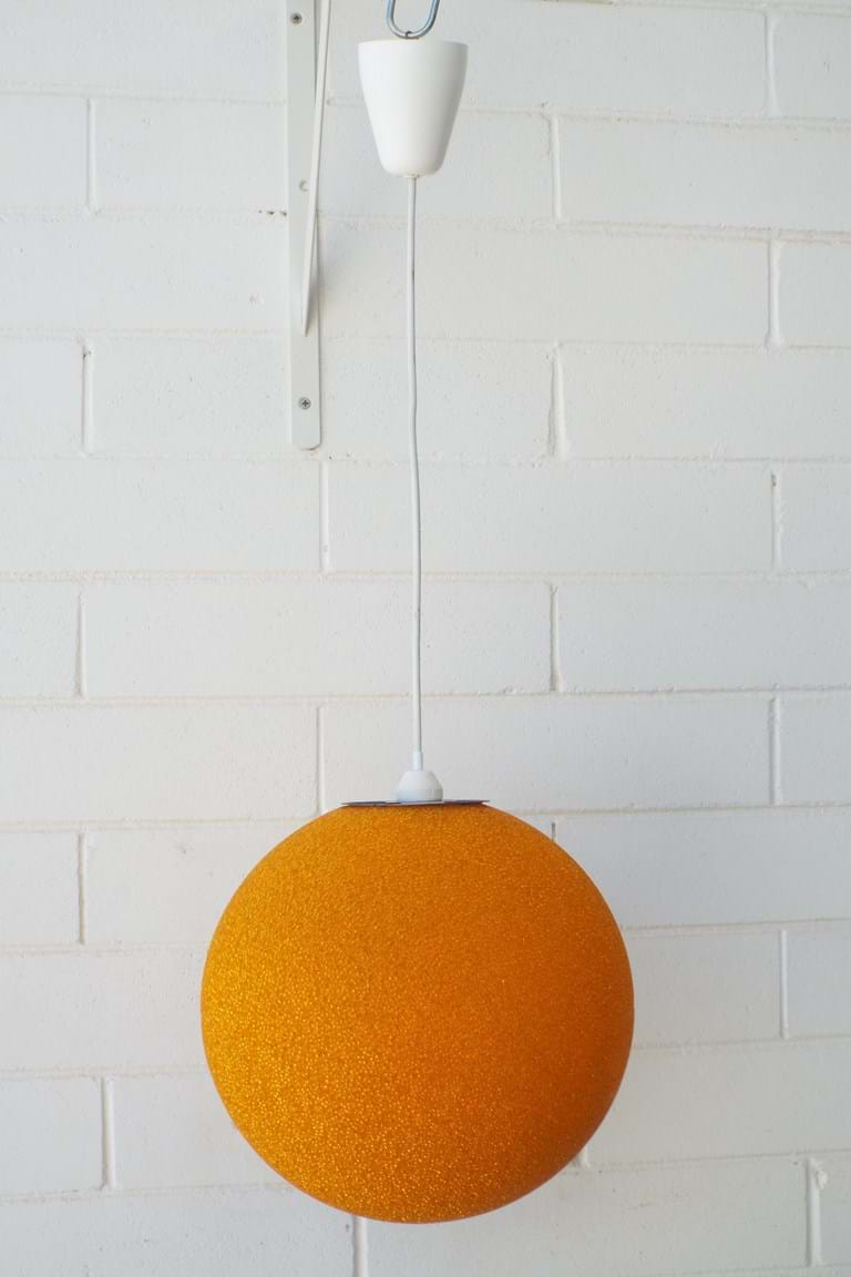 1970s ORANGE plastic bead light fitting