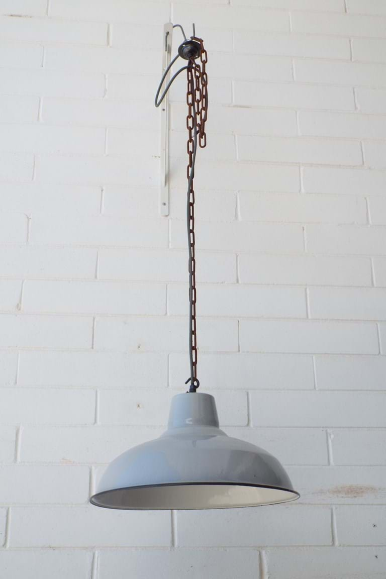 1950s industrial enamel ceiling light