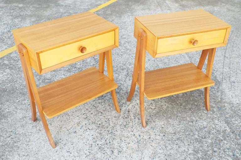 Pair 1950s bedside cabinets