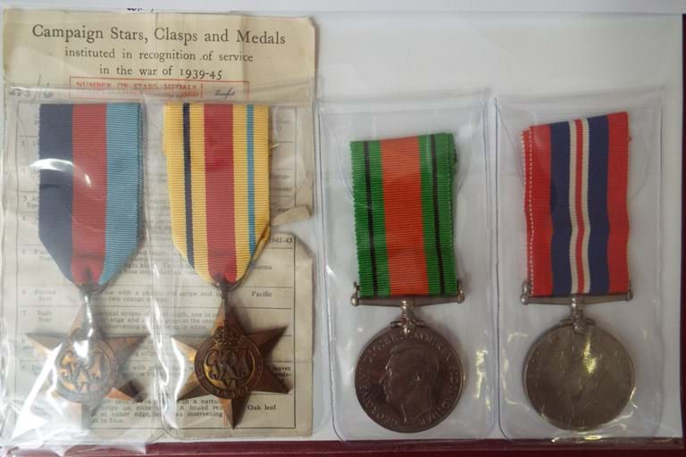 Set four WWII UK medals and ribbons