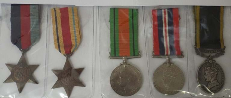 WWII medals and Efficiency medal with territorial bar