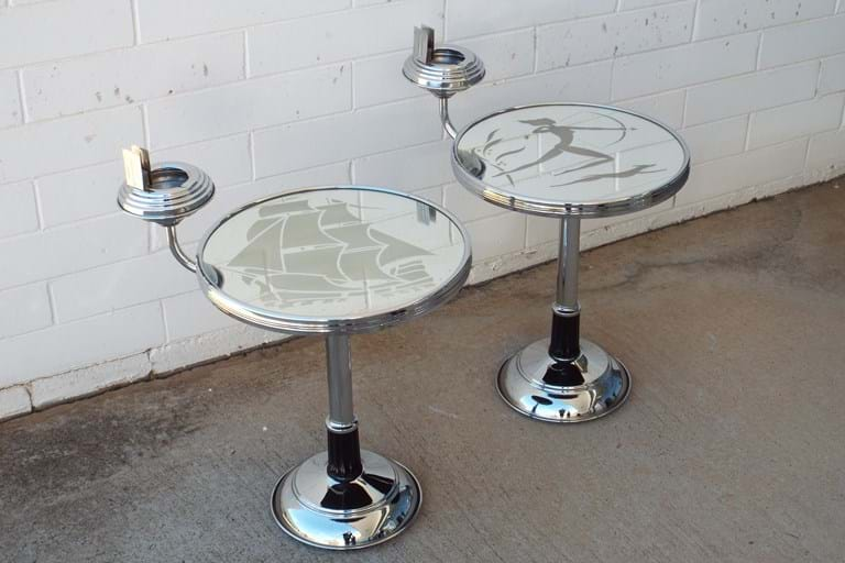 1960s chrome and glass smokers stand