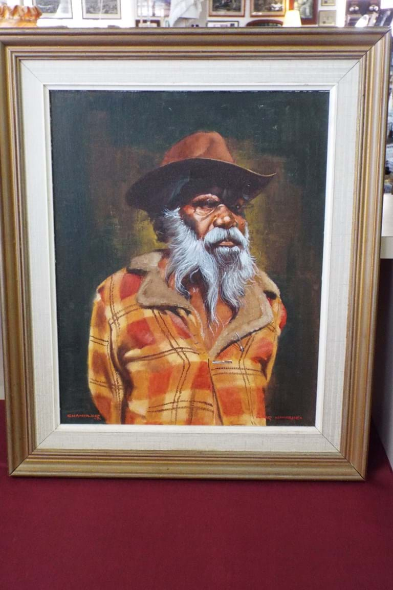 Oil on board portrait of Oscar Namatjira by Colin Noel Chandler