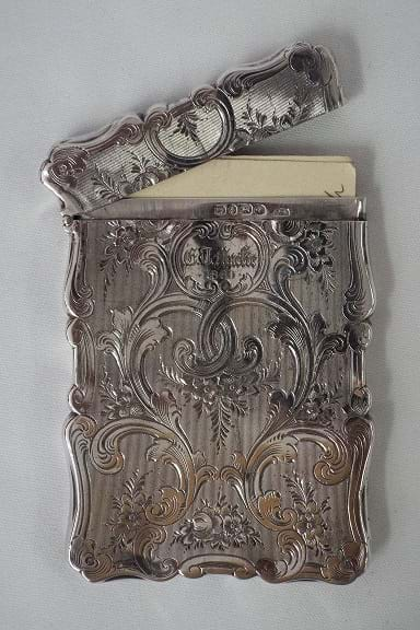 Victorian silver cards case