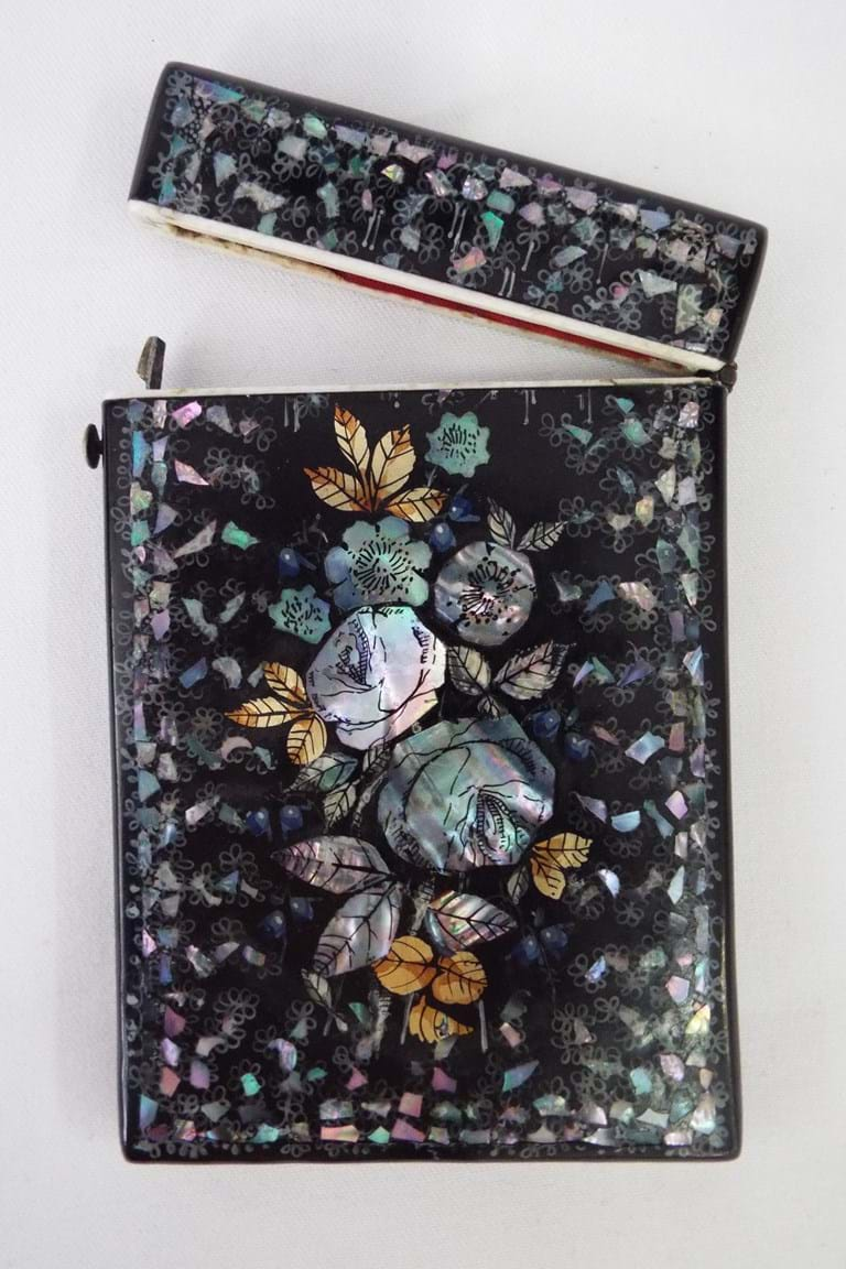 Victorian mother of pearl cards case