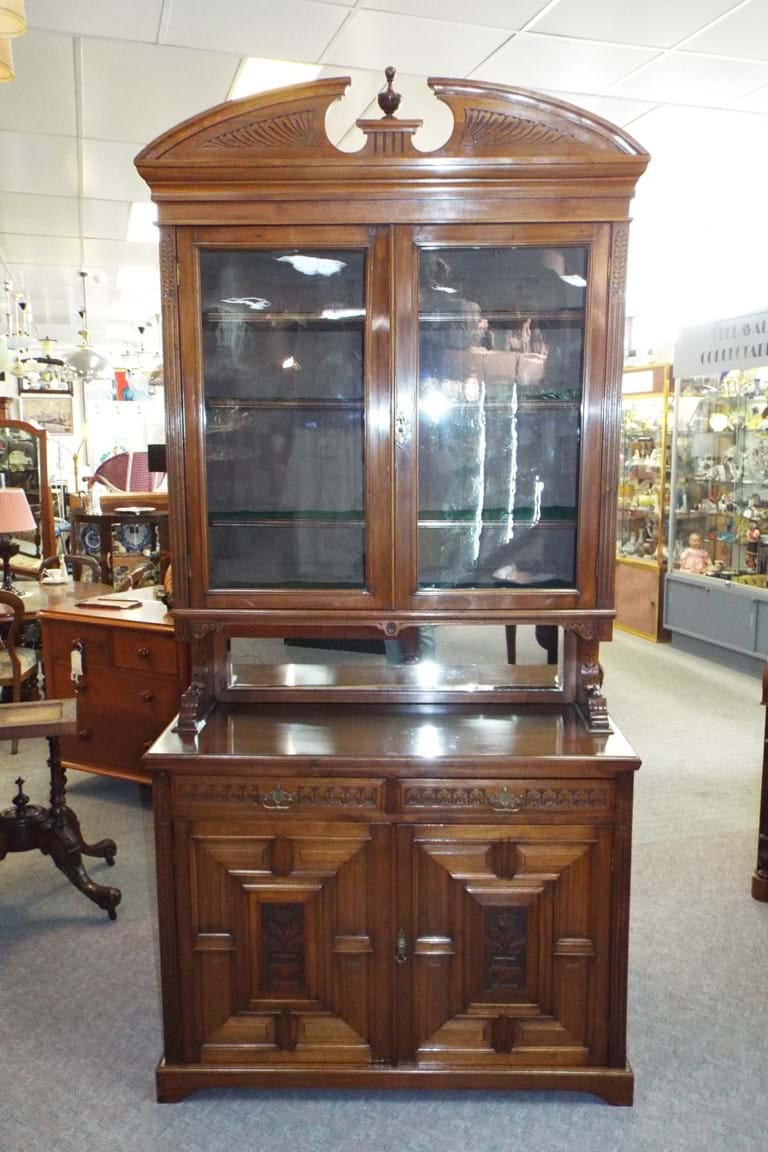 c1900 walnut two height bookcase. Antique Furniture for the Study Office   Canberra Antiques Centre