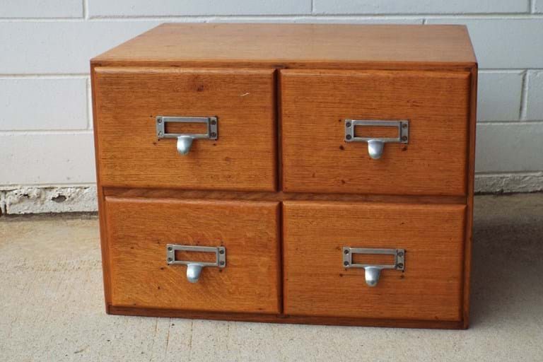 1950s four-drawer card file index units in maple
