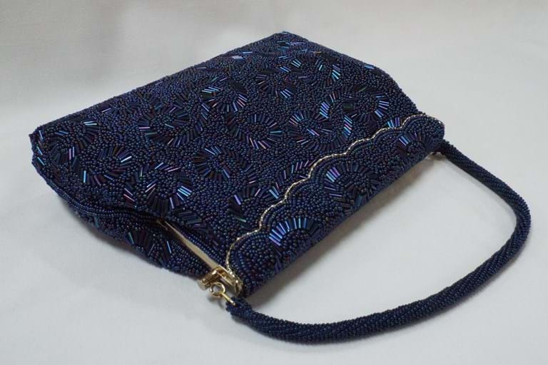 1960s blue beaded evening purse
