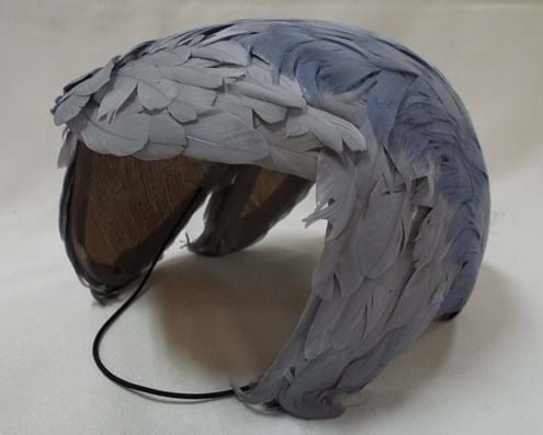 c1950s feathered half-hat