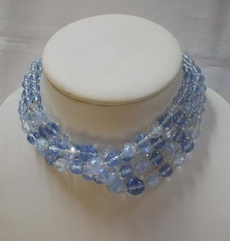 1950s blue crystal and glass necklace