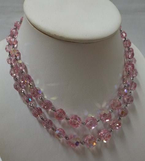 c1960 double strand pink crystals