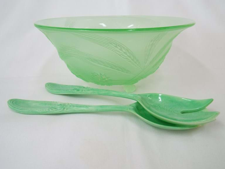Frosted green uranium glass salad bowl with servers