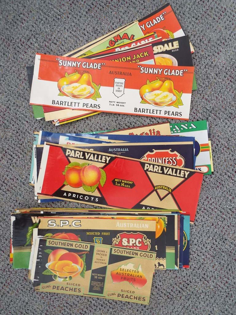 Quantity 1930s Australian canned fruit labels