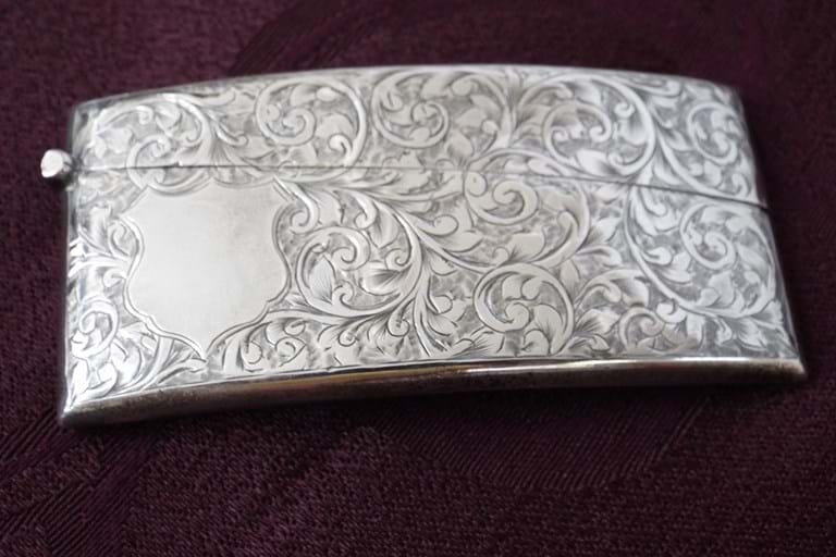 Edwardian silver cards case