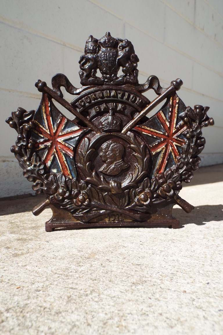 1911 George V Coronation cast iron money bank