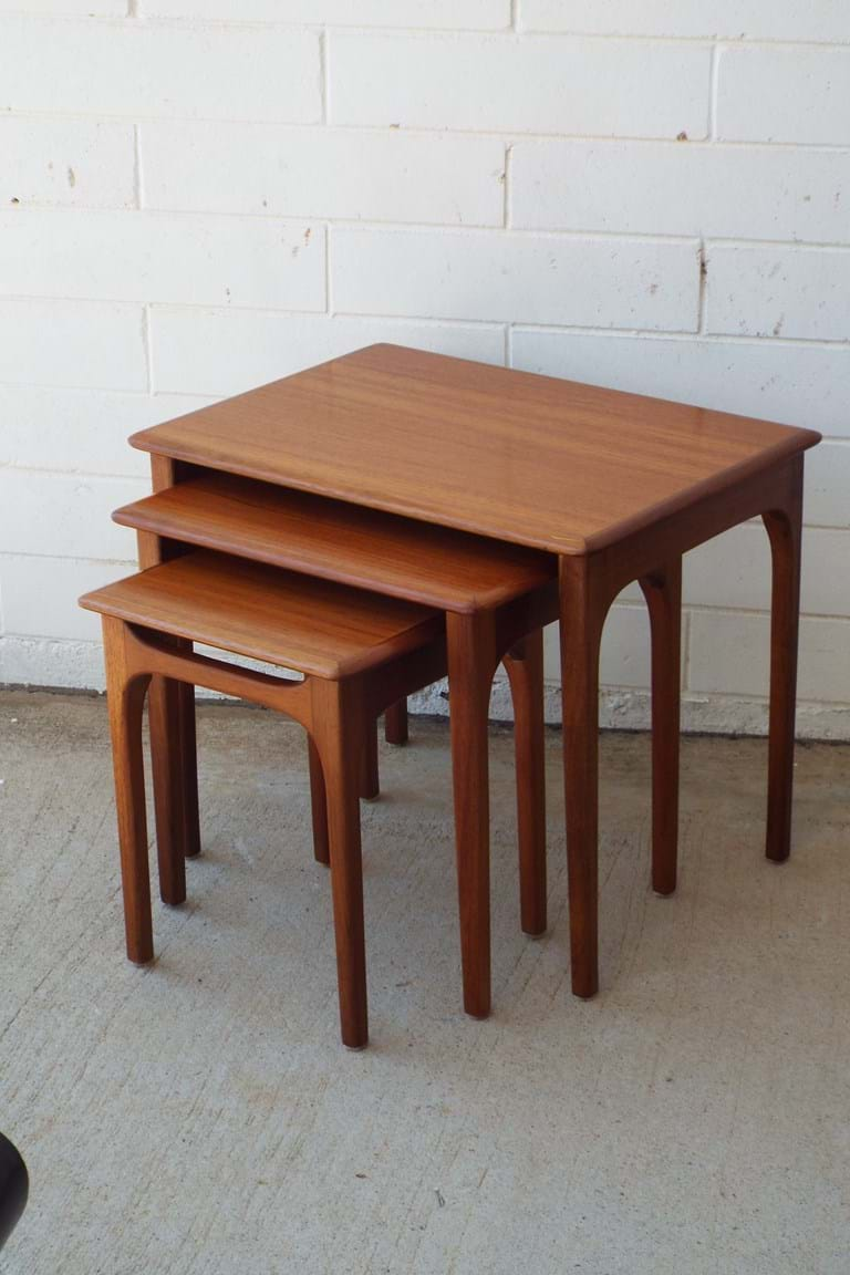 1960s timber nest of tables by Noblett Furniture