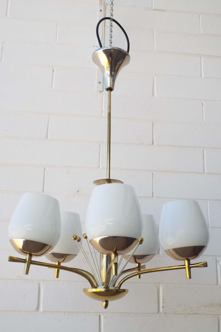 1960s five-arm pendant light fitting
