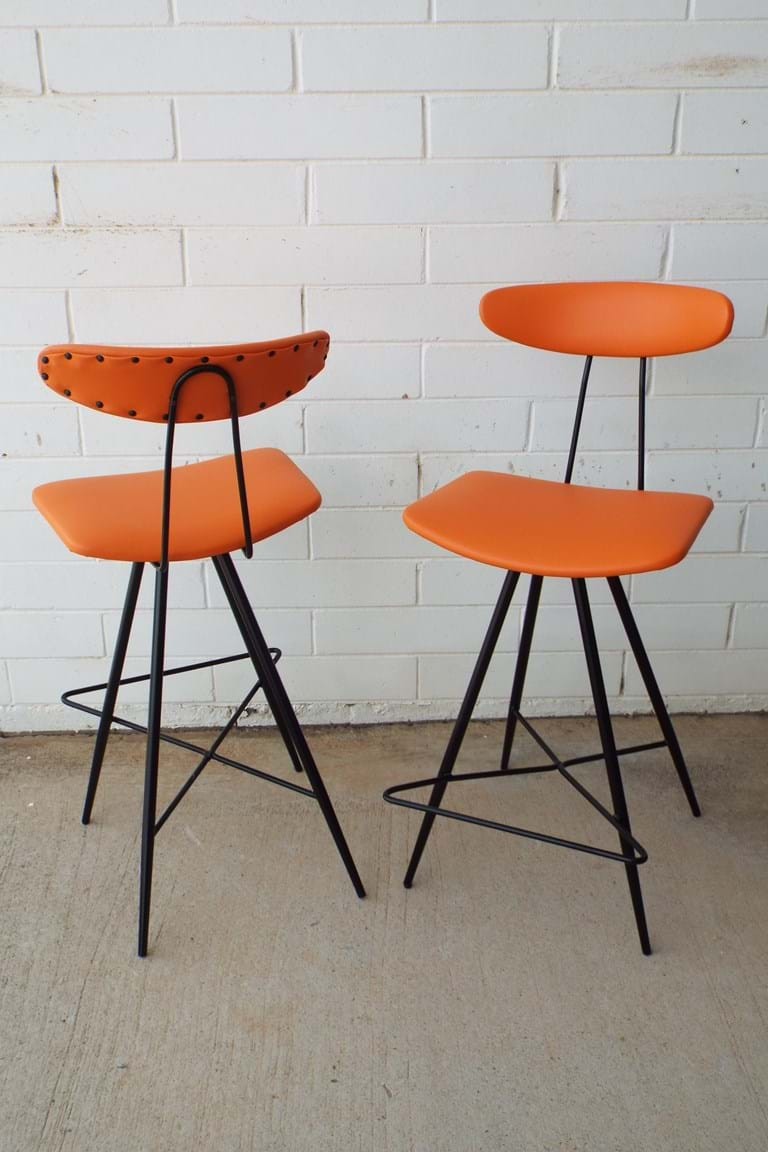 1960s pair high back bar stools by Wallace Furniture, Sans Souci