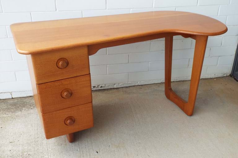 1950s Australian silky oak freeform desk