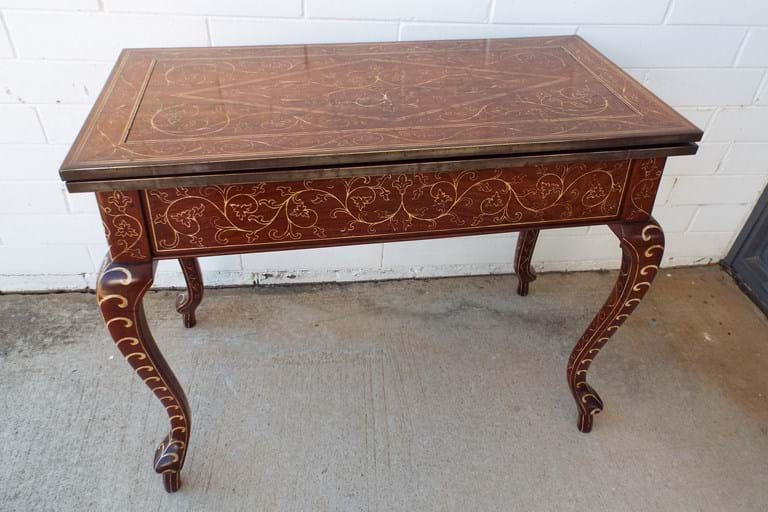 Early 20thc Anglo Indian teak games table